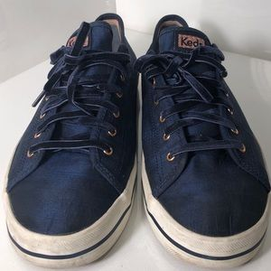 Navy blue Keds w/ Cute suede shoe-lace!
